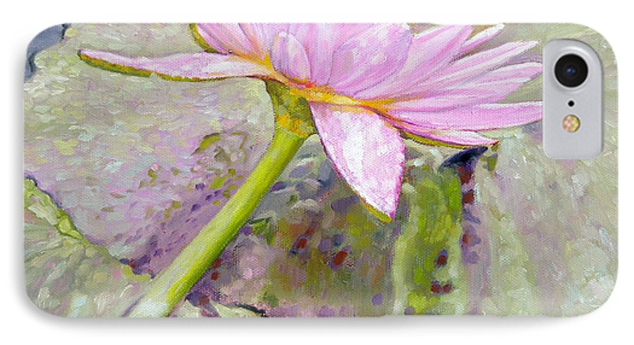 Water Lily IPhone 7 Case featuring the painting Pastel Beauty by John Lautermilch