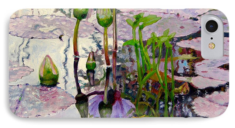Water Lily Pond IPhone 7 Case featuring the painting Pastel Light by John Lautermilch