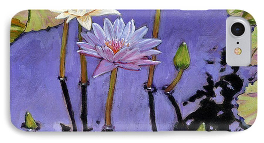 Water Lilies IPhone 7 Case featuring the painting Pastel Petals by John Lautermilch