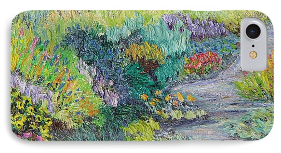 Flowers IPhone 7 Case featuring the painting Pathway Of Flowers by Richard Nowak
