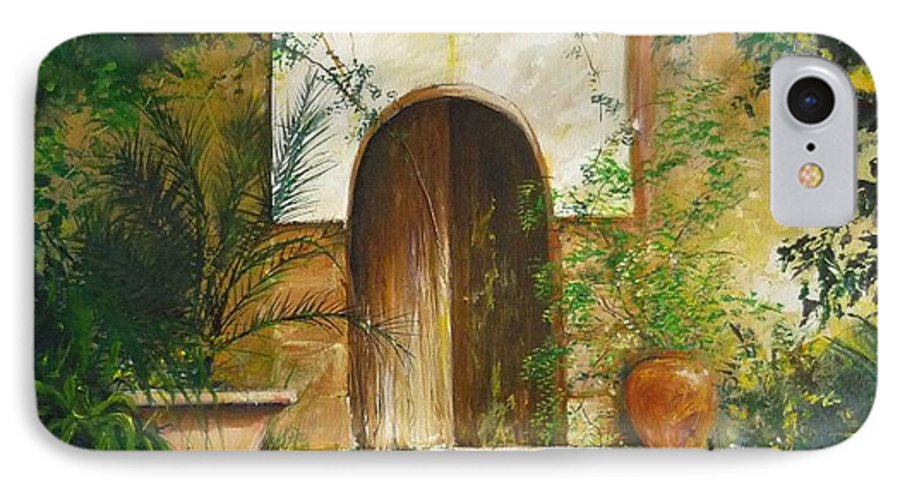 Farmhouse Courtyard IPhone 7 Case featuring the painting Patio Mallorquin by Lizzy Forrester