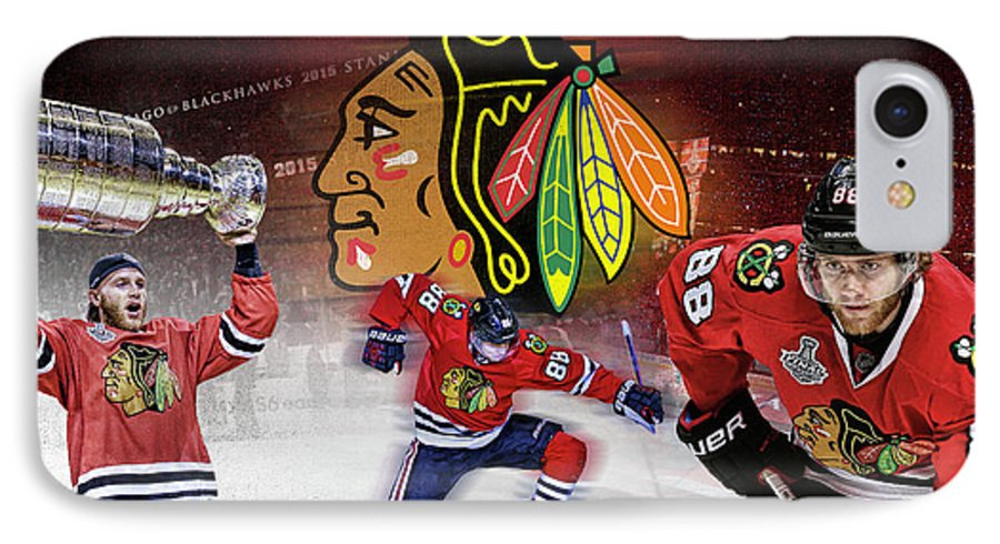 Patrick Kane IPhone 7 Case featuring the digital art Patrick Kane Artwork by Nicholas Legault