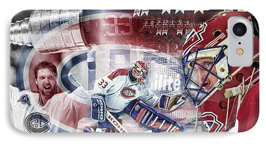 Patrick Roy IPhone 7 Case featuring the digital art Patrick Roy Montreal Canadiens by Nicholas Legault