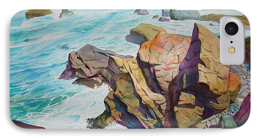 Watercolor IPhone 7 Case featuring the painting Patricks Point by John Norman Stewart