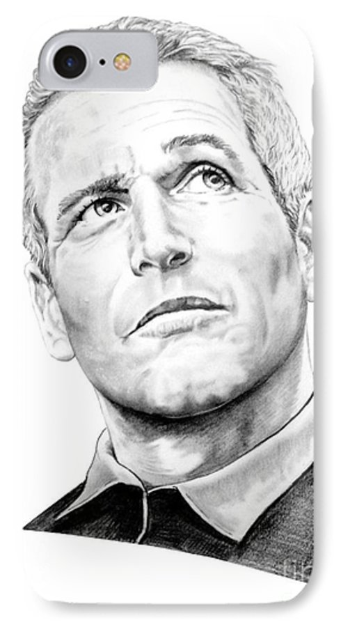 Paul Newman IPhone 7 Case featuring the drawing Paul Newman by Murphy Elliott