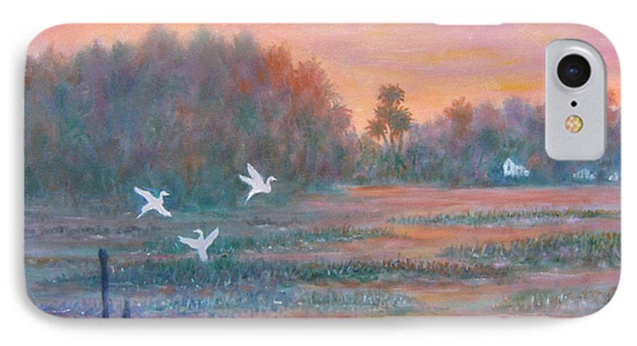 Low Country; Egrets; Sunset IPhone 7 Case featuring the painting Pawleys Island by Ben Kiger