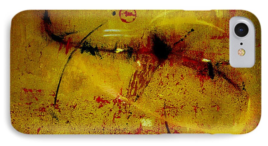 Abstract IPhone 7 Case featuring the painting Pay More Careful Attention by Ruth Palmer