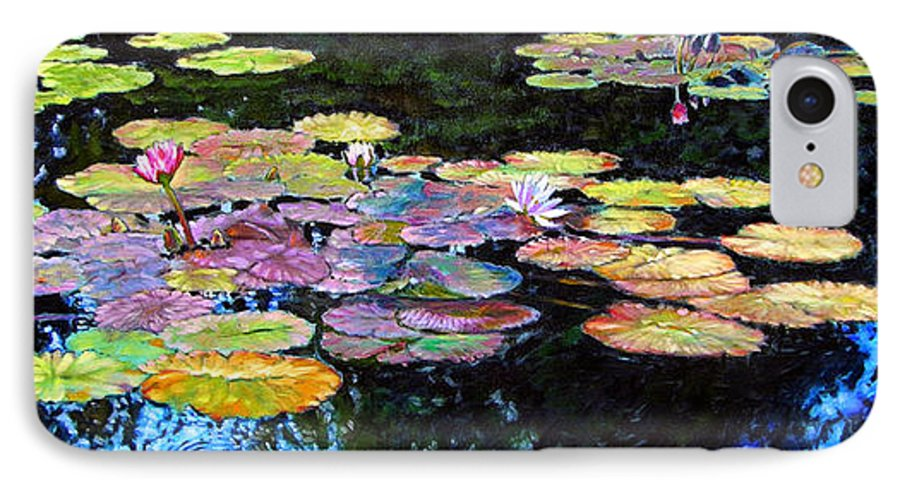 Water Lilies IPhone 7 Case featuring the painting Peace Among The Lilies by John Lautermilch
