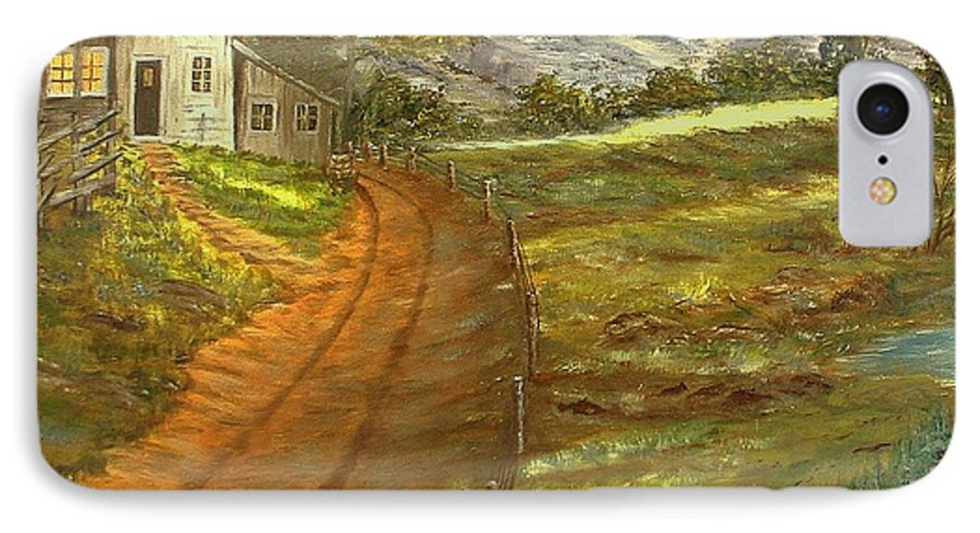 Landscape IPhone 7 Case featuring the painting Peaceful Country by Kenneth LePoidevin