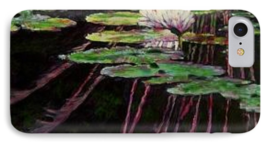 Quiet Pond With Water Lily And Reflections. Missouri Botanical Garden IPhone Case featuring the painting Peaceful Reflections by John Lautermilch