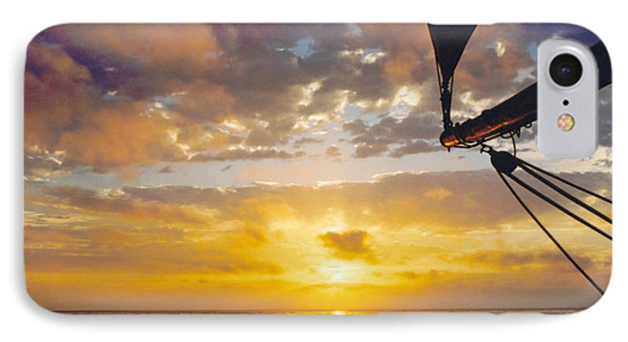 Sunset IPhone 7 Case featuring the photograph Peaceful Sailing by Kathy Schumann