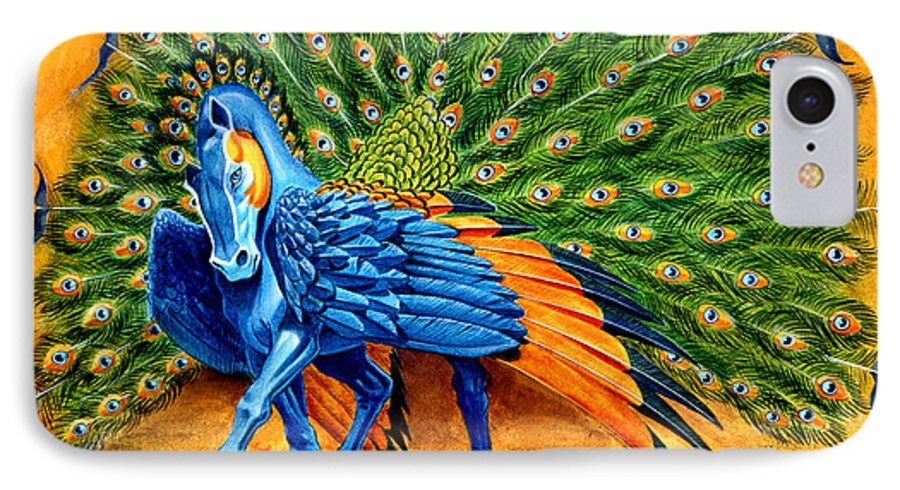 Horse IPhone 7 Case featuring the painting Peacock Pegasus by Melissa A Benson