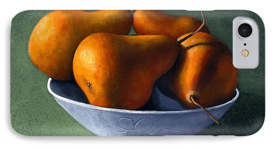 Still Life IPhone 7 Case featuring the painting Pears In Blue Bowl by Frank Wilson