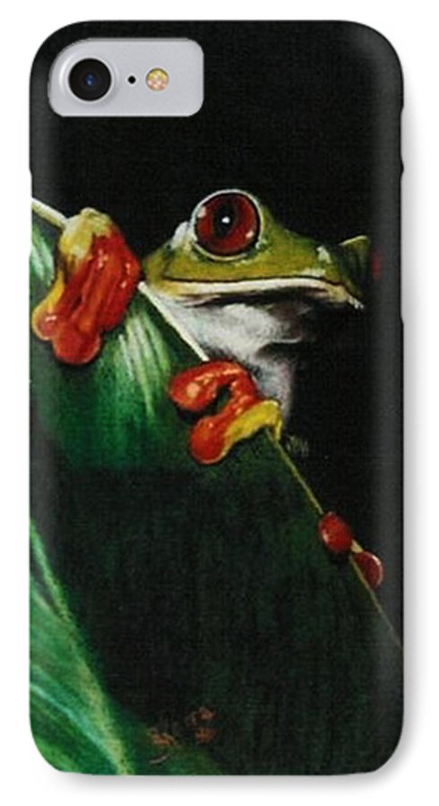 Frog IPhone 7 Case featuring the drawing Peek-a-boo by Barbara Keith