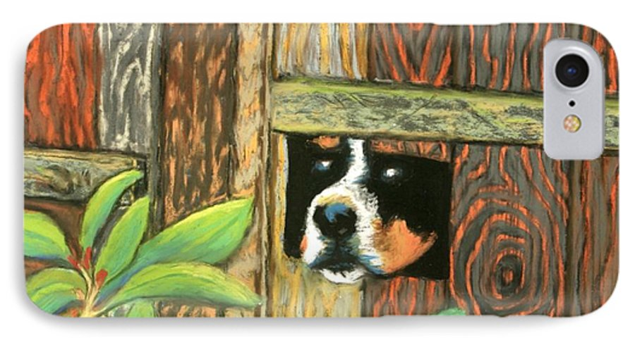 Dog IPhone 7 Case featuring the painting Peek-a-boo Fence by Minaz Jantz