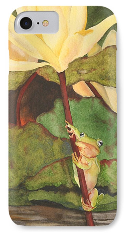 Frog IPhone 7 Case featuring the painting Peeping Tom by Jean Blackmer