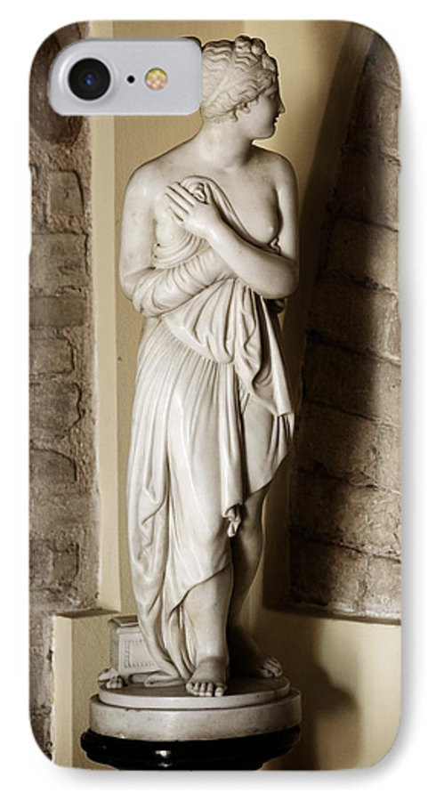 Statue IPhone 7 Case featuring the photograph Peering Woman by Marilyn Hunt