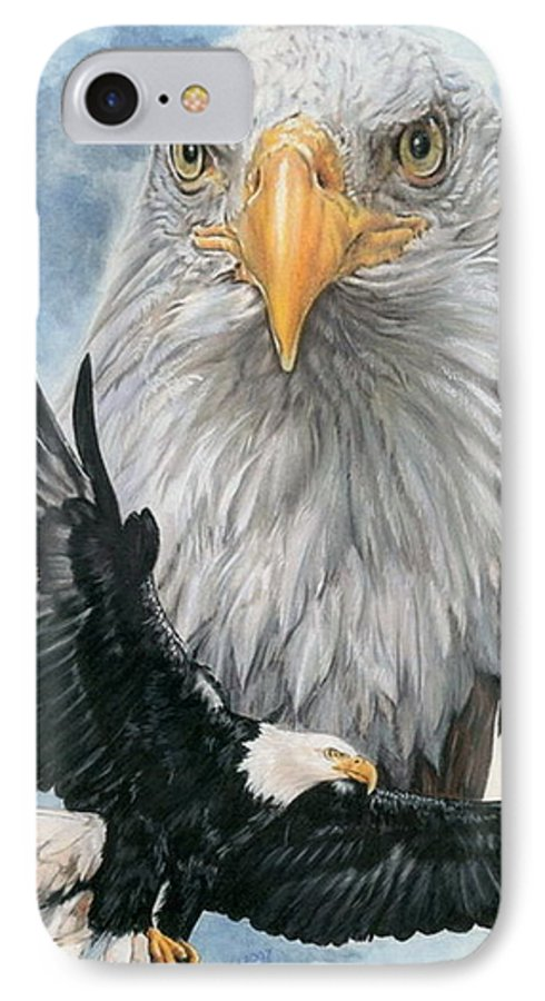 Bald Eagle IPhone 7 Case featuring the mixed media Peerless by Barbara Keith