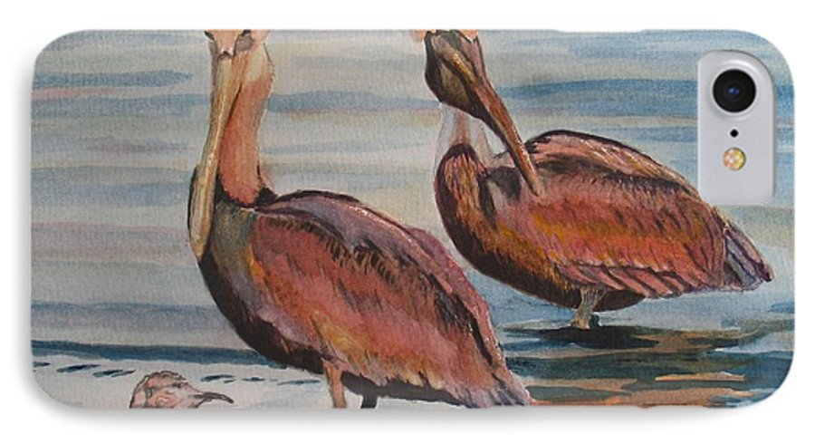 Pelicans IPhone 7 Case featuring the painting Pelican Party by Karen Ilari