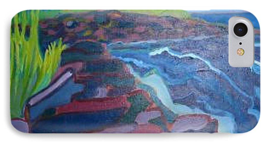 Ocean IPhone 7 Case featuring the painting Pemaquid Cliffs by Debra Bretton Robinson