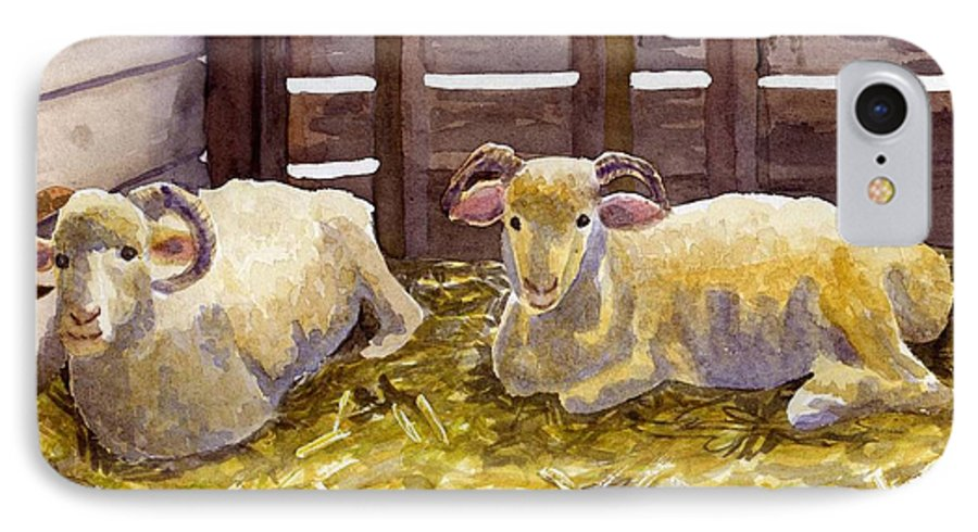Sheep IPhone 7 Case featuring the painting Pen Pals by Sharon E Allen