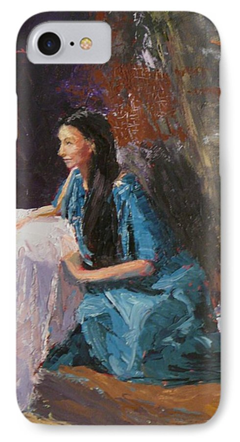 Sitting Woman IPhone 7 Case featuring the painting Penelope by Irena Jablonski