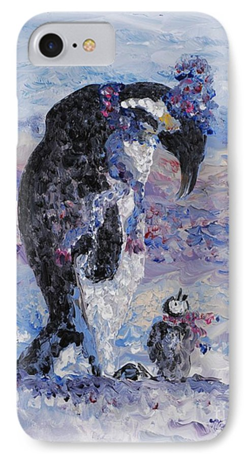 Penguins Winter Snow Blue Purple White IPhone 7 Case featuring the painting Penguin Love by Nadine Rippelmeyer