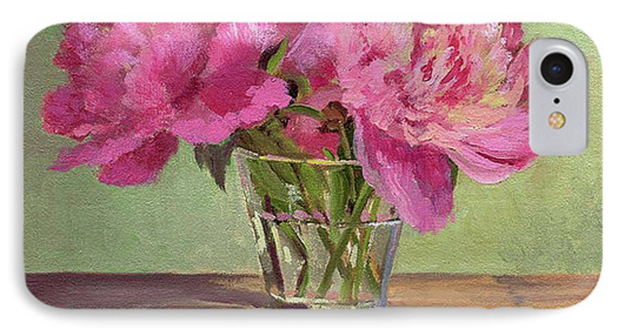 Still IPhone 7 Case featuring the painting Peonies In Tumbler by Keith Burgess