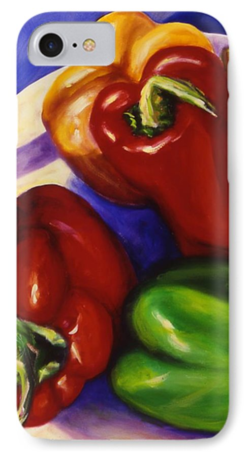 Still Life Peppers IPhone 7 Case featuring the painting Peppers In The Round by Shannon Grissom