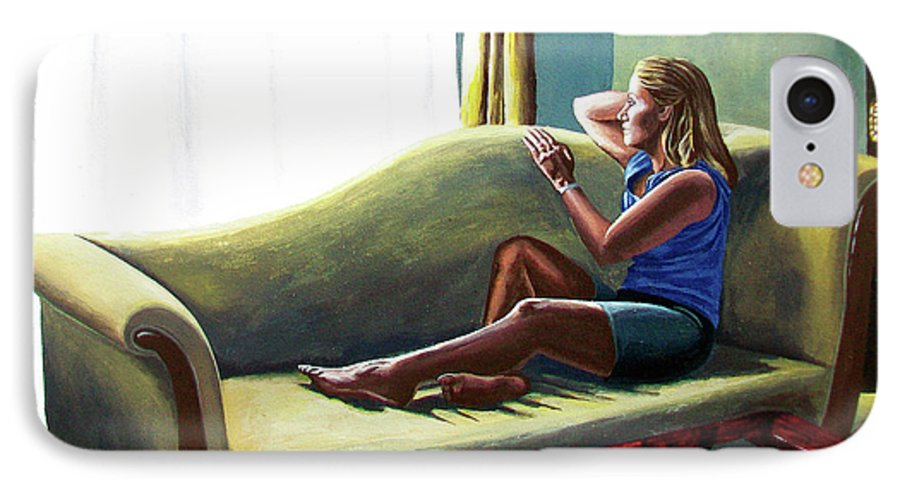 Figure IPhone 7 Case featuring the painting Perfect Waiting - Esperar Perfecto by Rezzan Erguvan-Onal