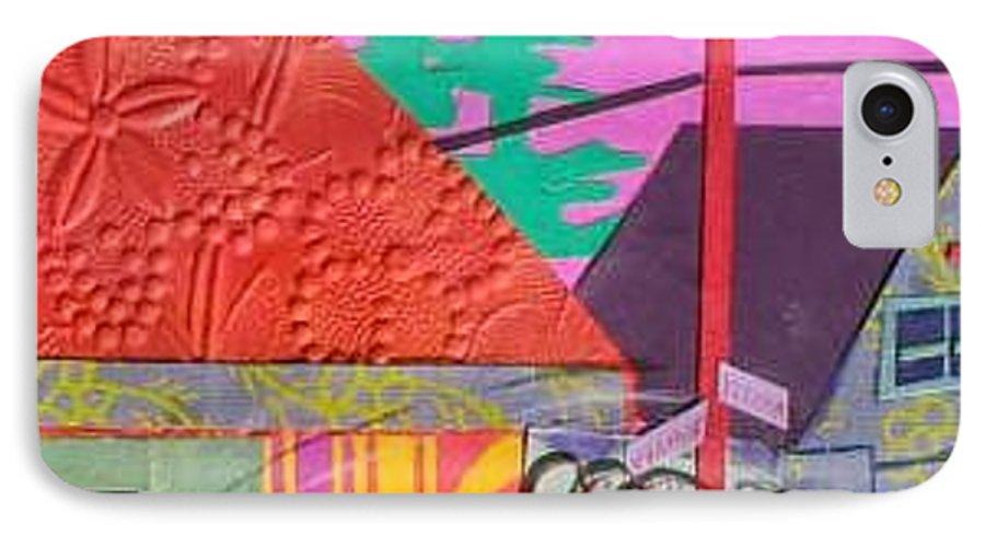 City IPhone 7 Case featuring the mixed media Perham Street by Debra Bretton Robinson