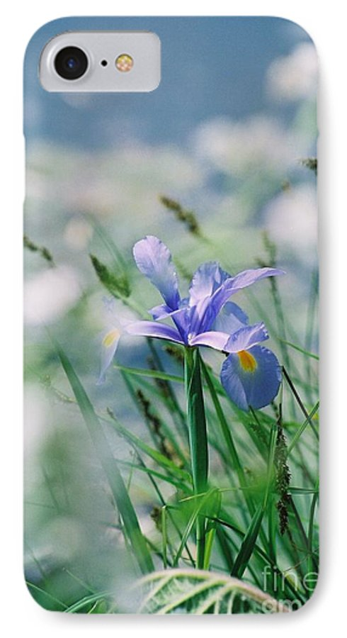 Periwinkle IPhone 7 Case featuring the photograph Periwinkle Iris by Nadine Rippelmeyer