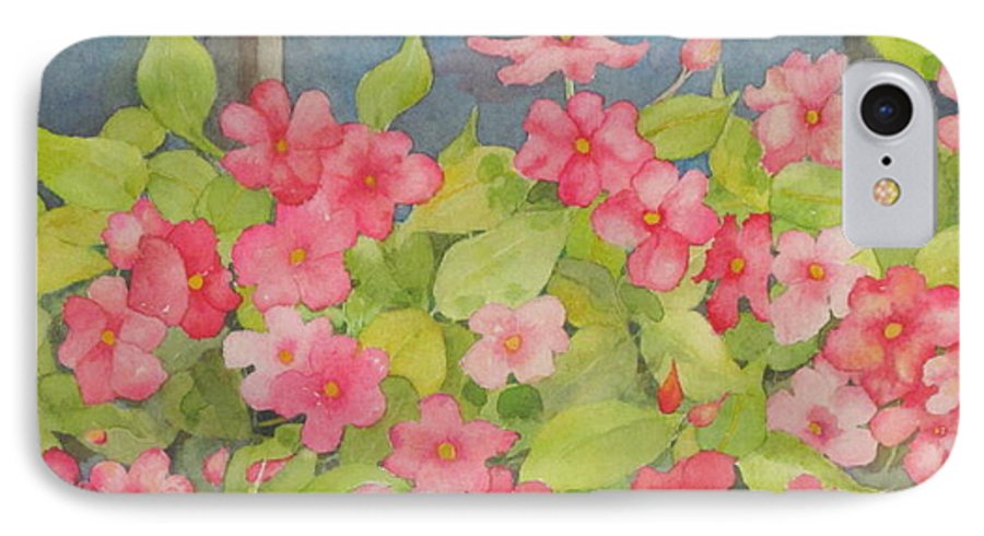 Flowers IPhone 7 Case featuring the painting Perky by Mary Ellen Mueller Legault