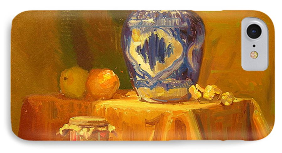Still Life IPhone 7 Case featuring the painting Persian Vase And Fruit Jar by David Dozier