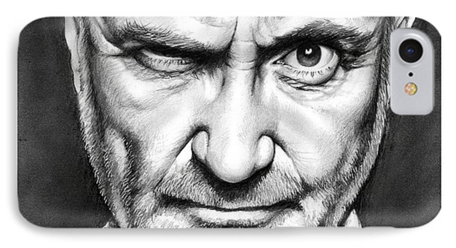 Phil Collins IPhone 7 Case featuring the drawing Phil Collins by Greg Joens