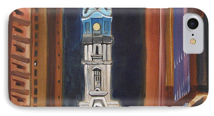 Landmarks IPhone 7 Case featuring the painting Philadelphia City Hall by Patricia Arroyo
