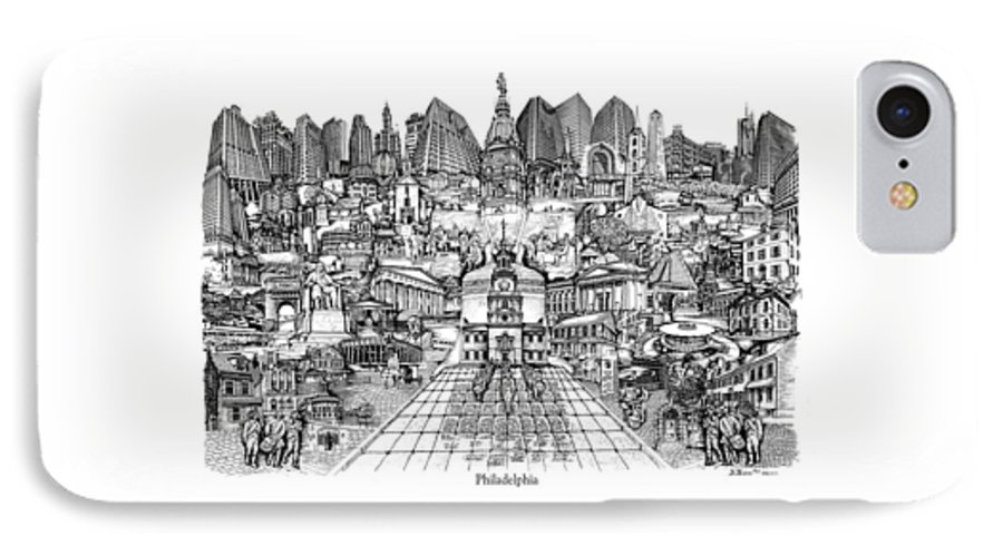 City Drawing IPhone 7 Case featuring the drawing Philadelphia by Dennis Bivens