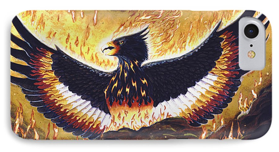 Phoenix IPhone 7 Case featuring the painting Phoenix Rising by Melissa A Benson