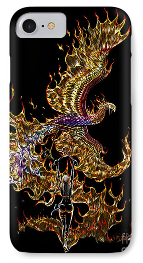 Phoenix IPhone 7 Case featuring the drawing Phoenix by Stanley Morrison