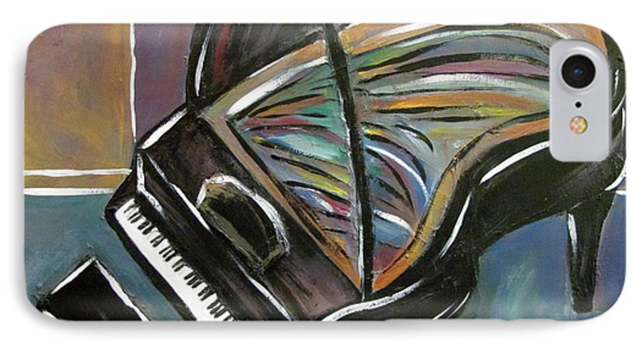 Impressionist IPhone 7 Case featuring the painting Piano With High Heel by Anita Burgermeister