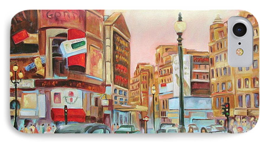 Cityscape IPhone 7 Case featuring the painting Picadilly by Ginger Concepcion