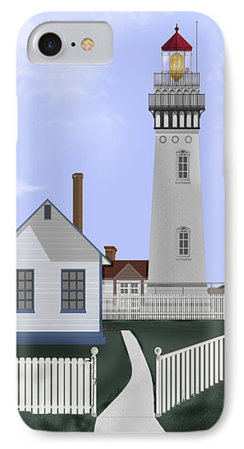 Lighthouse IPhone 7 Case featuring the painting Pigeon Point Lighthouse California by Anne Norskog