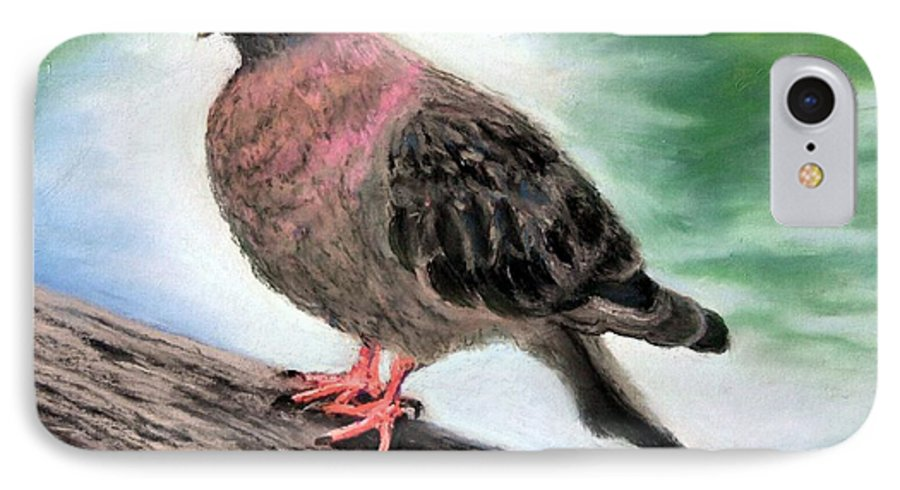 Pigeon IPhone 7 Case featuring the painting Pigeon Toes by Minaz Jantz