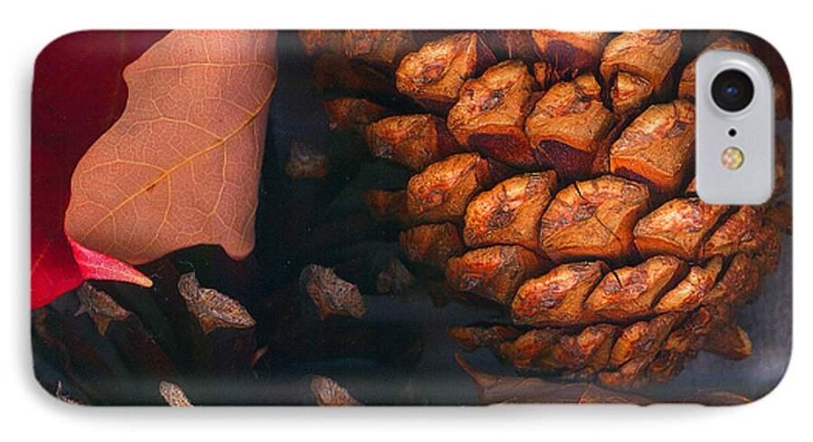 Pine Cones IPhone 7 Case featuring the photograph Pine Cones And Leaves by Nancy Mueller