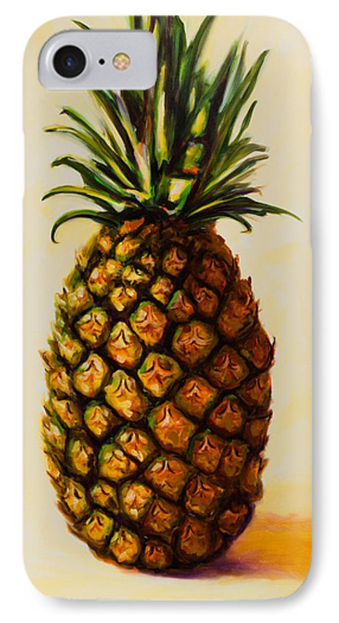 Pineapple IPhone 7 Case featuring the painting Pineapple Angel by Shannon Grissom