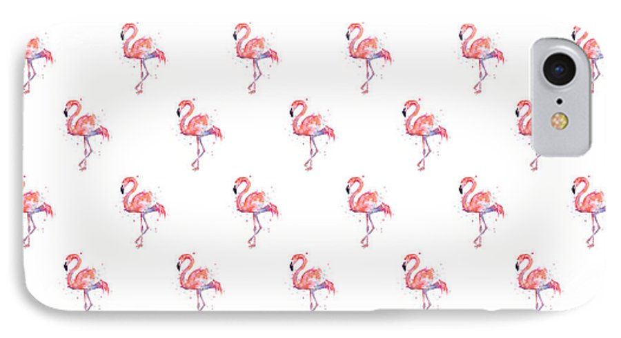 Pink IPhone 7 Case featuring the painting Pink Flamingo Watercolor Pattern by Olga Shvartsur
