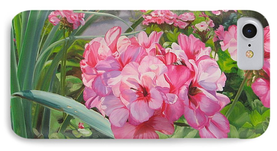 Pink Geraniums IPhone 7 Case featuring the painting Pink Geraniums by Lea Novak