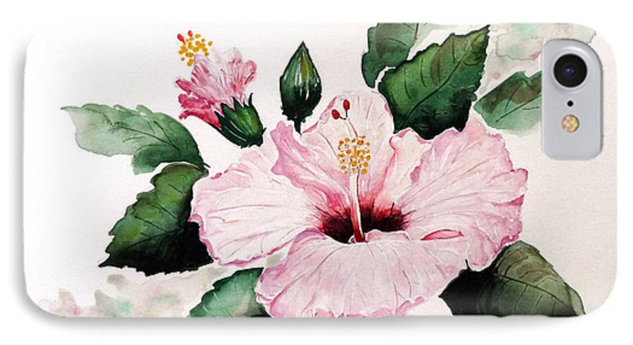 Hibiscus Painting  Floral Painting Flower Pink Hibiscus Tropical Bloom Caribbean Painting IPhone 7 Case featuring the painting Pink Hibiscus by Karin Dawn Kelshall- Best
