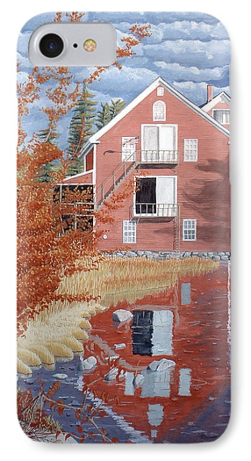 Autumn IPhone 7 Case featuring the painting Pink House In Autumn by Dominic White