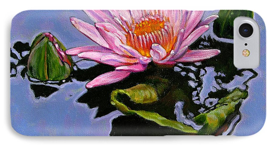 Water Lily IPhone 7 Case featuring the painting Pink Lily With Dancing Reflections by John Lautermilch